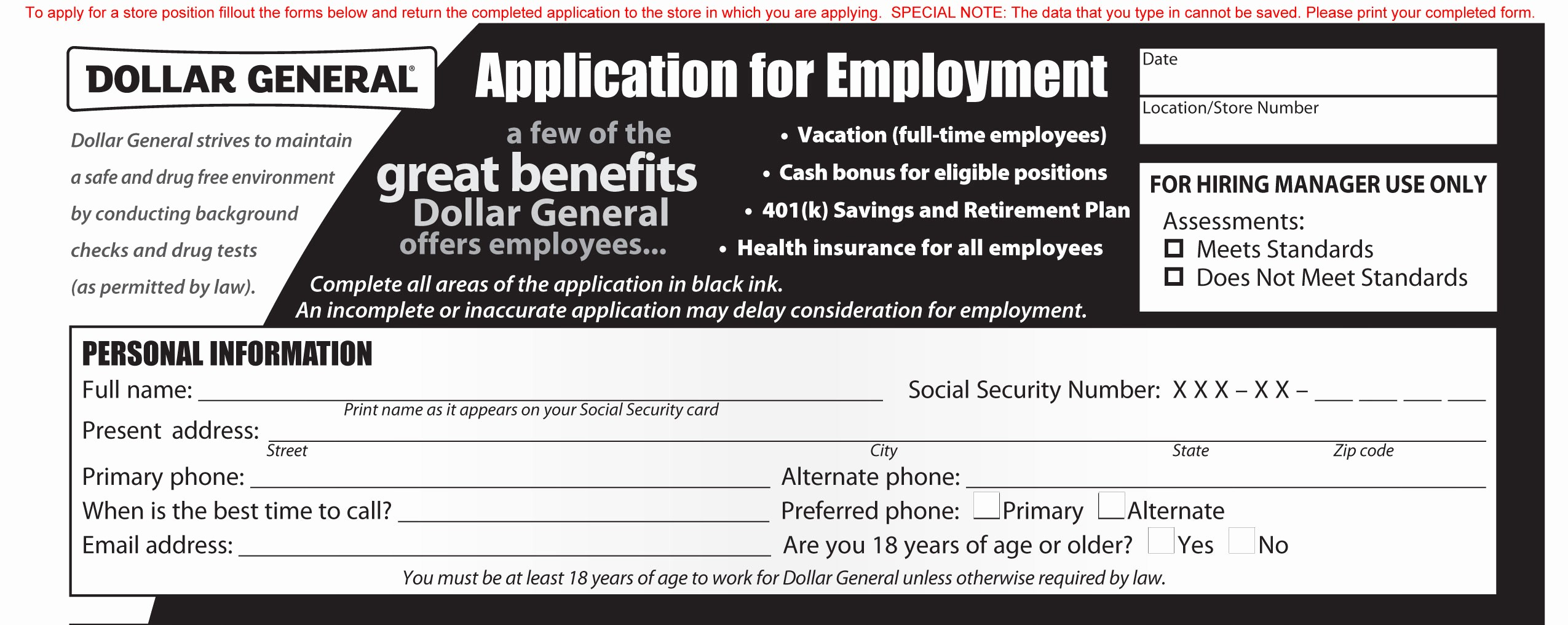 Generic Job Application to Print Lovely Dollar General Job Application Printable Employment Pdf