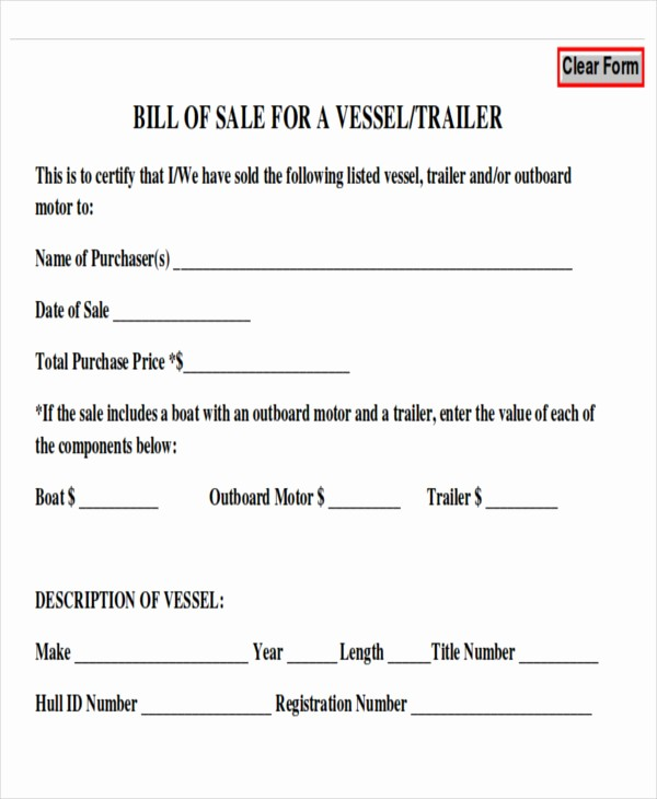 Generic Motorcycle Bill Of Sale Beautiful Bill Sale for Trailer