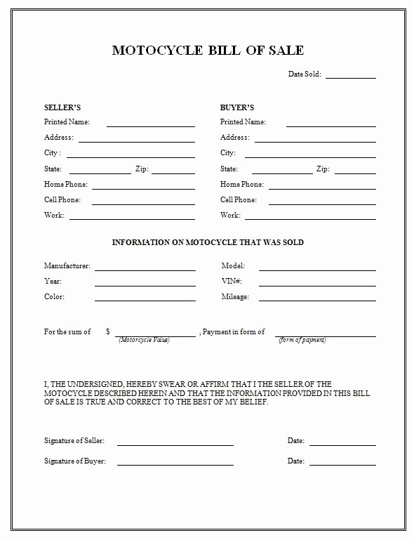 Generic Motorcycle Bill Of Sale Inspirational Free Printable Motorcycle Bill Of Sale form Generic