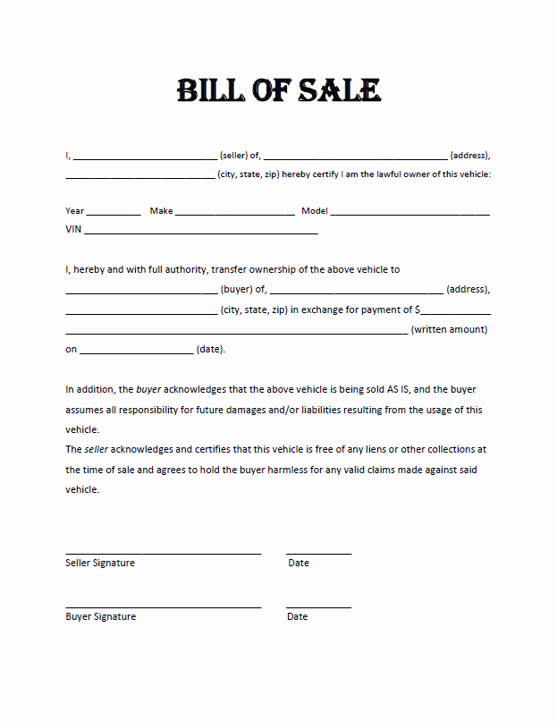 Generic Motorcycle Bill Of Sale New Free Bill Sale Template