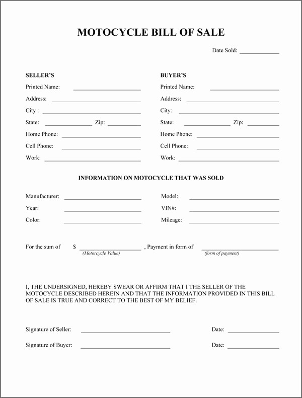 Generic Motorcycle Bill Of Sale New Motorcycle Bill Sale form