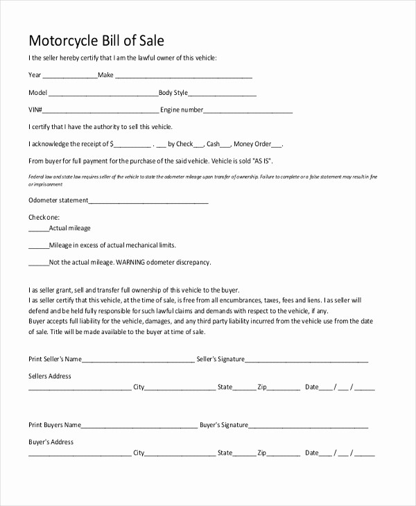 Generic Motorcycle Bill Of Sale New Sample Generic Bill Of Sale form 10 Free Documents In Pdf