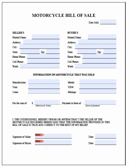 Generic Motorcycle Bill Of Sale Unique Free Printable Motorcycle Bill Of Sale form Generic
