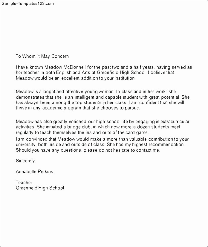 Generic Recommendation Letter for Student Beautiful Letter Of Re Mendation Template for Student – Grnwav