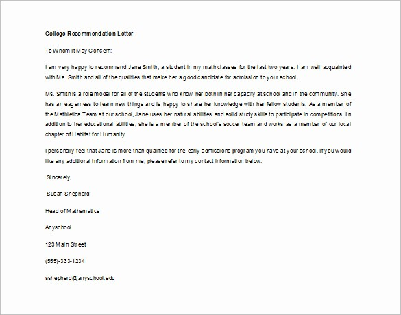 Generic Recommendation Letter for Student Luxury Writing A Letter Of Re Mendation for A Student for