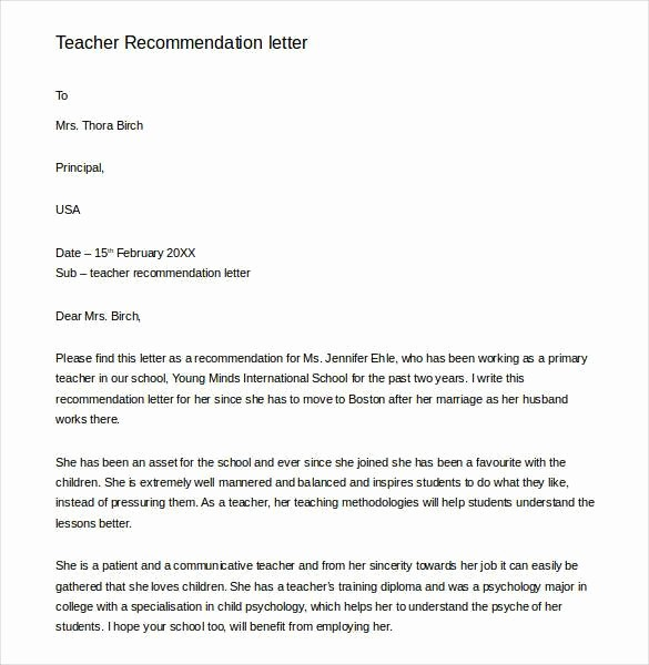 Generic Recommendation Letter for Student New 28 Letters Of Re Mendation for Teacher Pdf Doc