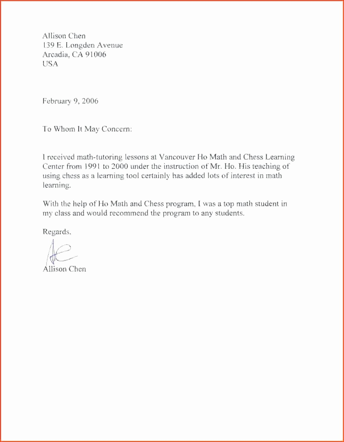 Generic Recommendation Letter for Student New Generic Student Re Mendation Letter Hola Klonec