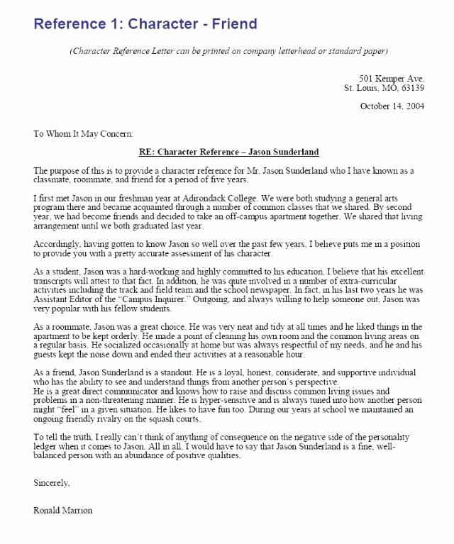 Generic Recommendation Letter for Student New Letters Character Reference Re Mendation Letter