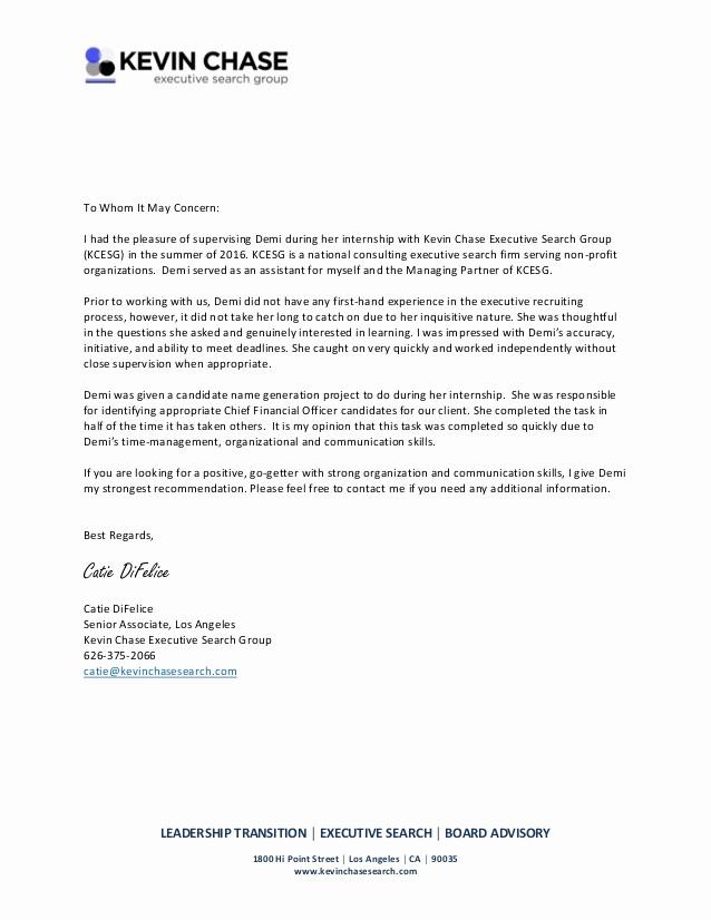 Generic Recommendation Letter for Student Unique Re Mendation Letter Internship 2016