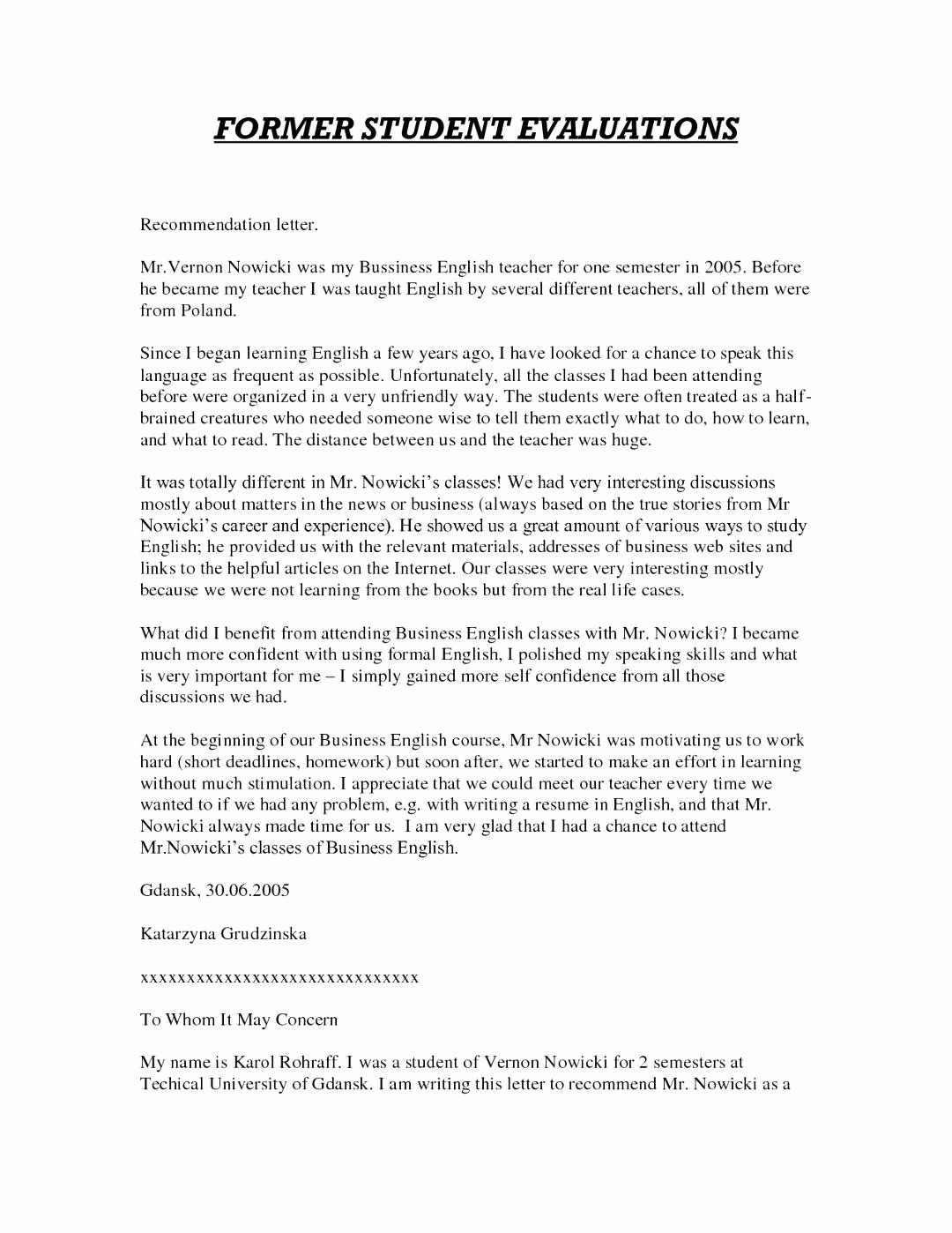 Generic Recommendation Letter for Student Unique Template Generic Reference Letter Template