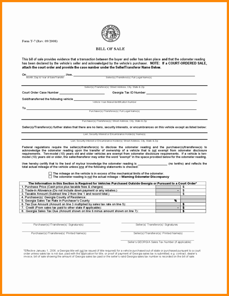 12 13 vehicle bill of sale georgia