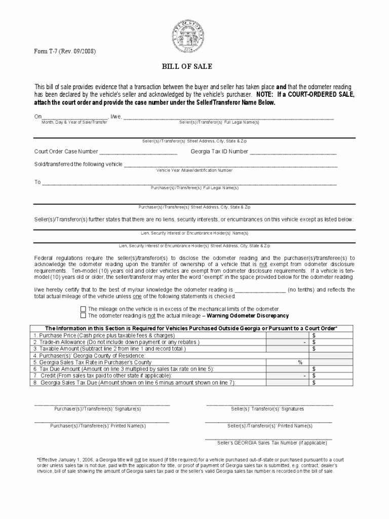 Georgia Automobile Bill Of Sale Elegant Georgia Bill Of Sale form Free Templates In Pdf Word