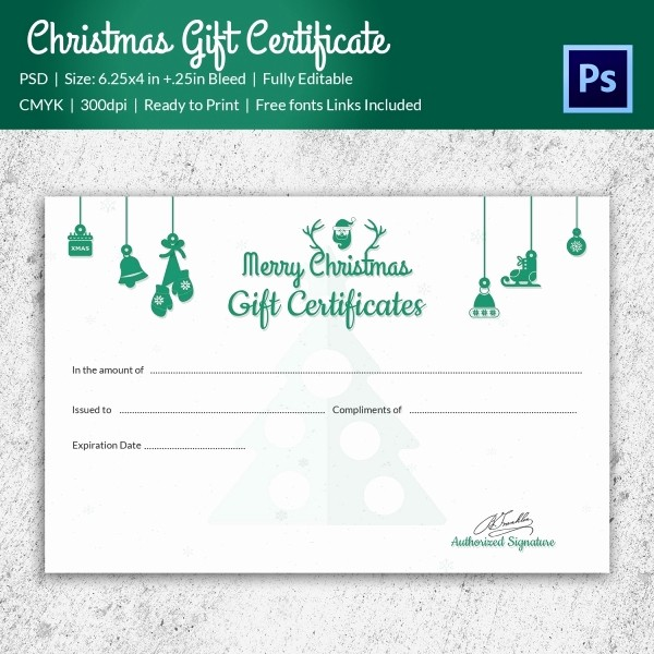 Gift Card Template Free Download Beautiful Christmas Gift Certificate Templates 21 Psd format
