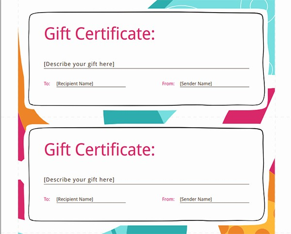 Gift Card Templates Free Printable Awesome Printable Gift Certificate Templates