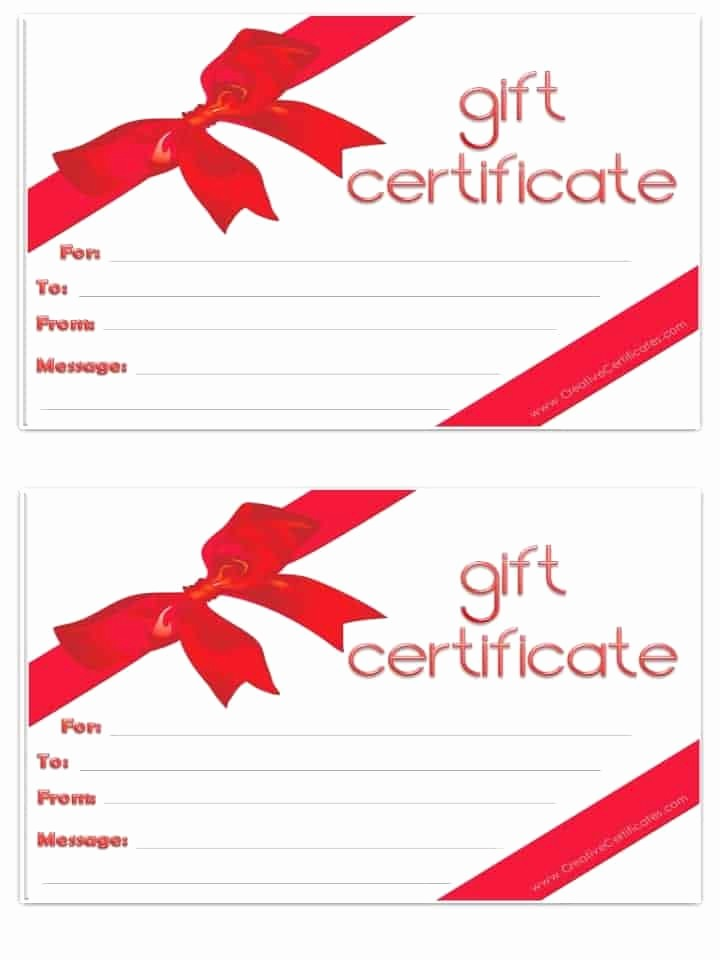 Gift Card Templates Free Printable New Free Gift Certificate Template