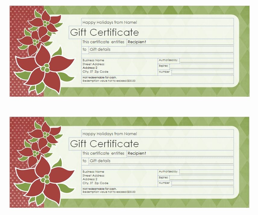 Gift Certificate Samples Free Templates Best Of Christmas Gift Certificate Template