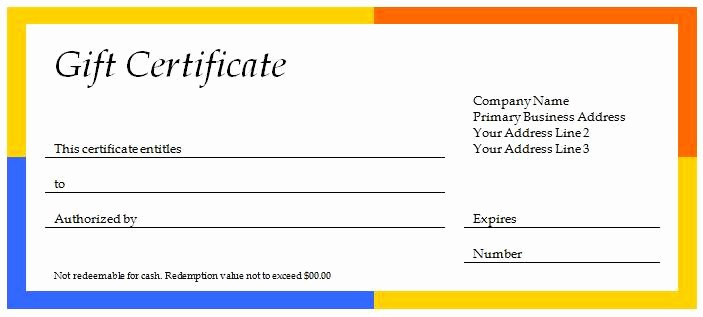 Gift Certificate Samples Free Templates Fresh New Editable Gift Certificate Templates