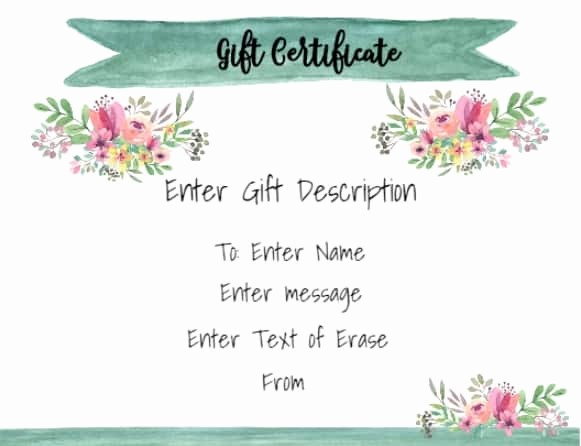 Gift Certificate Samples Free Templates Inspirational Free Gift Certificate Template 50 Designs