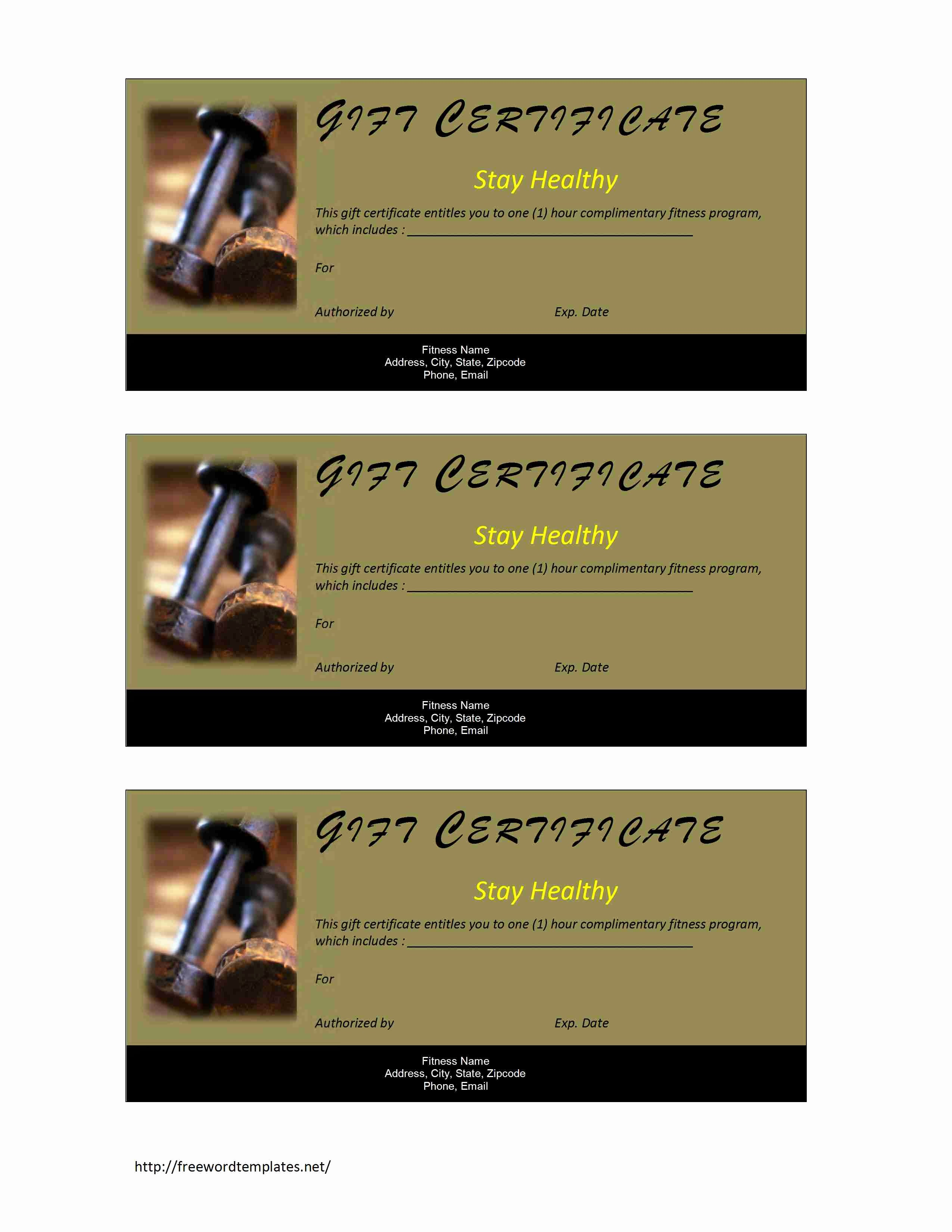 Gift Certificate Samples Free Templates New Fitness Gift Certificate