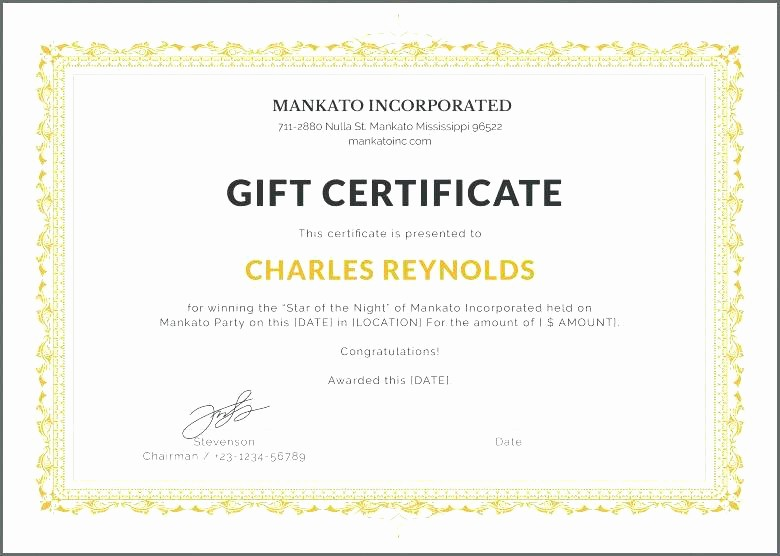 Gift Certificate Template for Mac Awesome Gift Certificate Template Word Certificate Template Word
