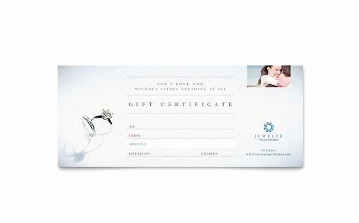 Gift Certificate Template for Mac Beautiful Jeweler & Jewelry Store Gift Certificate Template Word