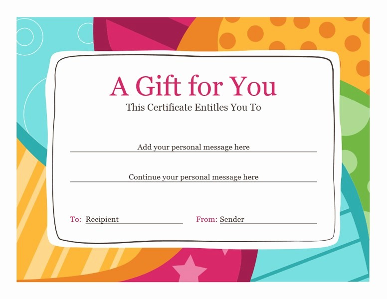 Gift Certificate Template Microsoft Word Best Of Birthday T Certificate Bright Design