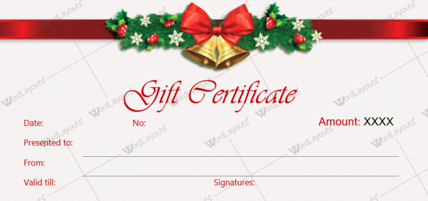 Gift Certificate Template Microsoft Word Luxury Christmas Gift Certificate Template 36 Word Layouts