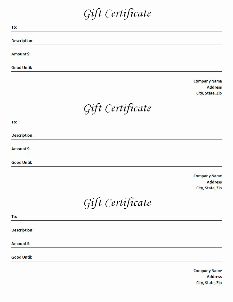 Gift Certificate Template Microsoft Word Luxury Gift Certificate Template Blank Microsoft Word Document