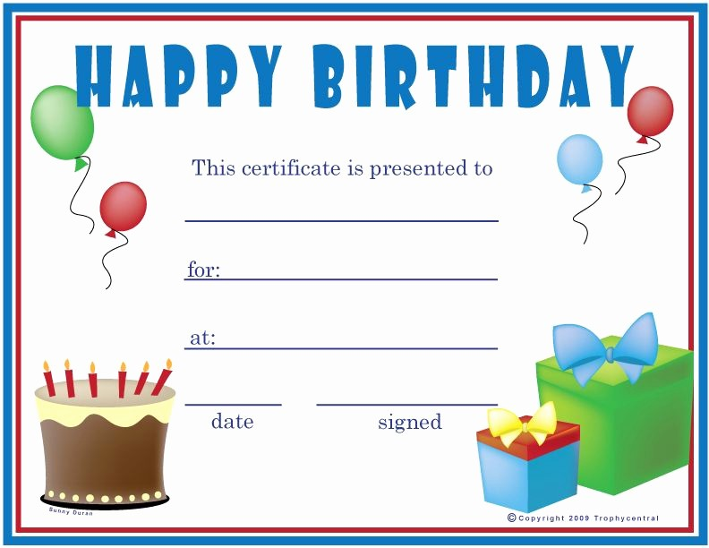 Gift Certificate Templates Free Printable Beautiful Birthday Boy Certificate Happy Birthday