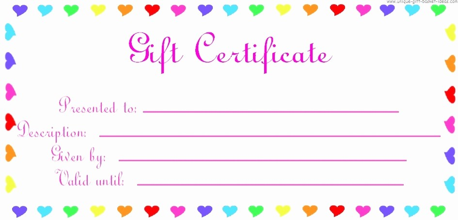 Gift Certificate Templates Free Printable Best Of Printable Gift Certificate Birthday