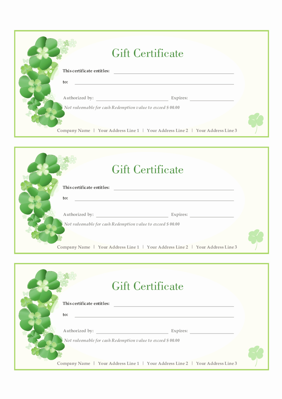 Gift Certificate Templates Free Printable Fresh Free Gift Certificate Template Template Trakore Document