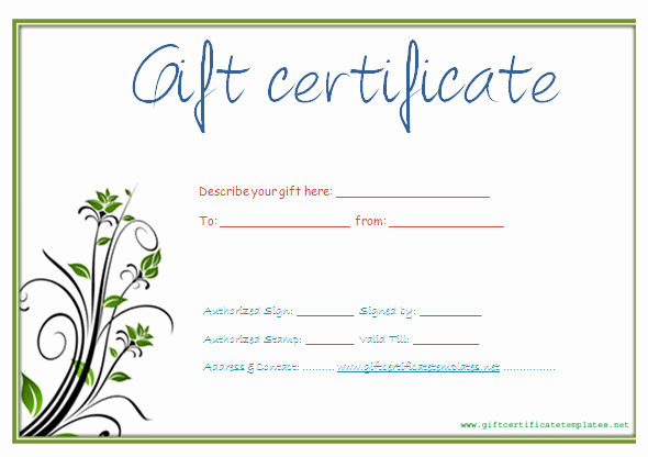 Gift Certificate Templates Free Printable Unique Printable T Certificate Template Gift Certificate
