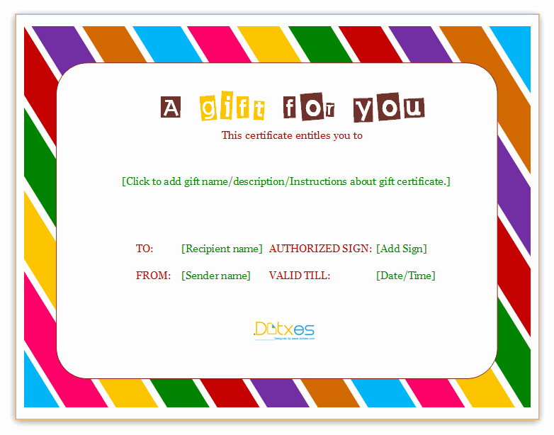 Gift Certificates for Small Business Awesome Certificate Templates Dotxes