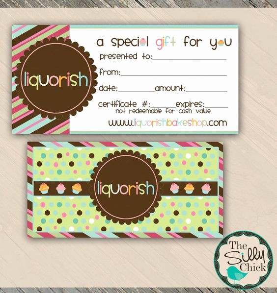 Gift Certificates for Small Business Luxury Bake Shop Gift Certificate Template Customizable Psd
