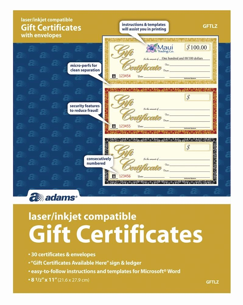 Gift Certificates for Small Business New Gift Certificate Laser 3 Up 30 Per Pack