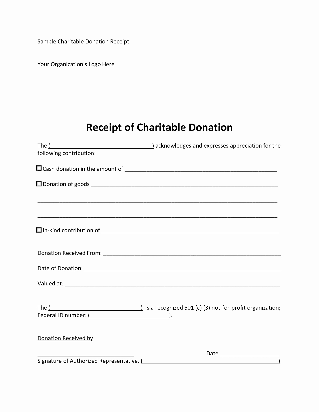 Gift In Kind Receipt Template Best Of 6 Best Of 501c3 Donation Receipt Template Charity
