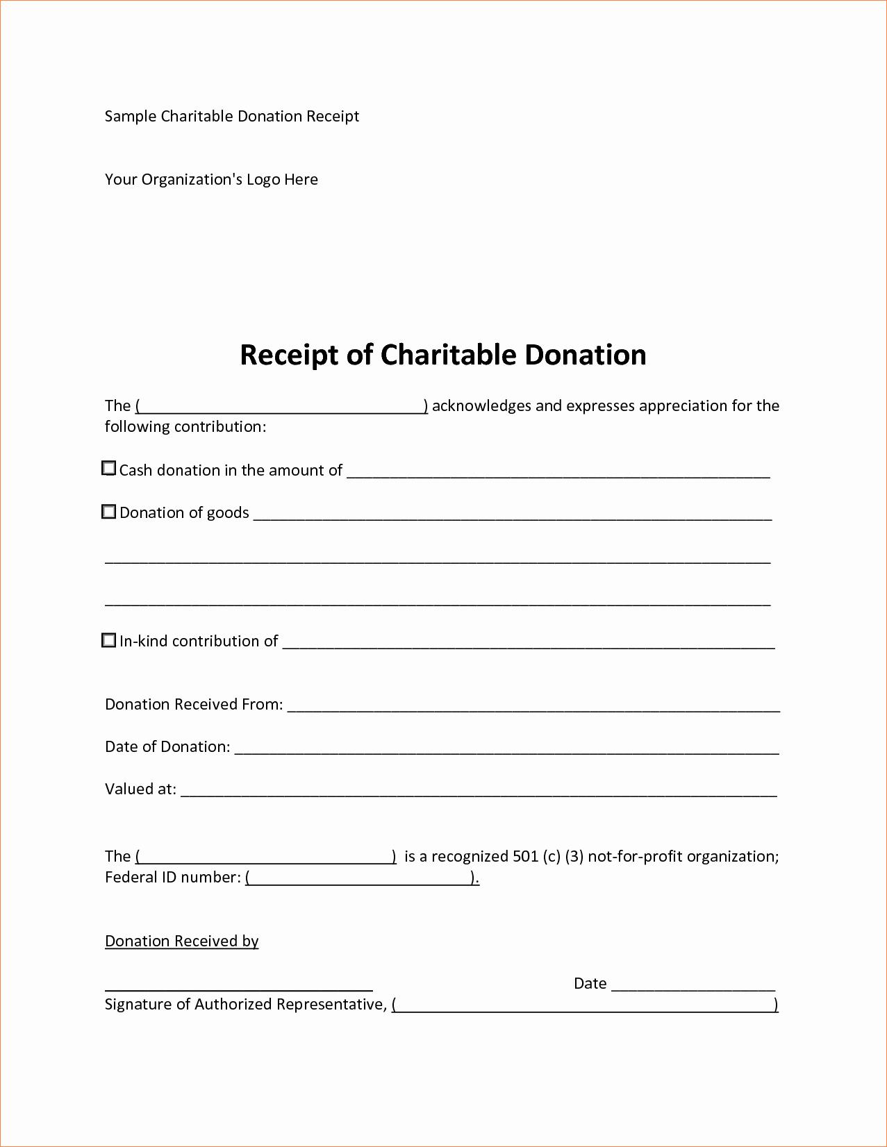 Gift In Kind Receipt Template Elegant 5 Sample Donation Receipt