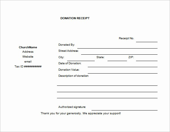 Gift In Kind Receipt Template Fresh 18 Donation Receipt Templates Doc Pdf