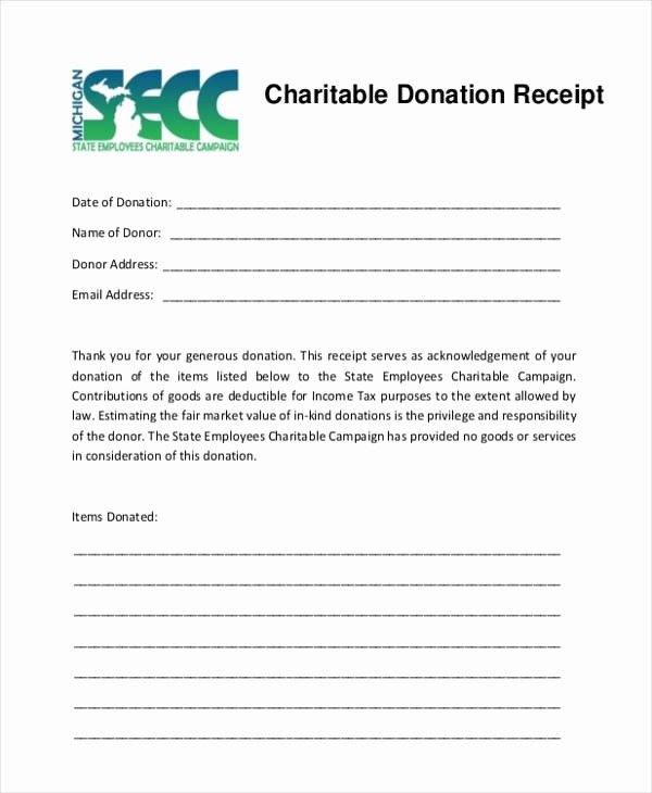 Gift In Kind Receipt Template Luxury 5 Charitable Donation Receipt Templates formats