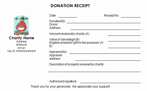 Gift In Kind Receipt Template Luxury 50 Free Receipt Templates Cash Sales Donation Taxi