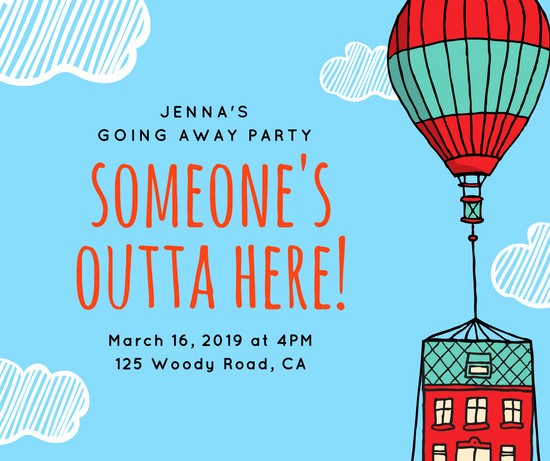 Going Away Flyer Template Free Best Of Blue Hot Air Balloon Going Away Party Post
