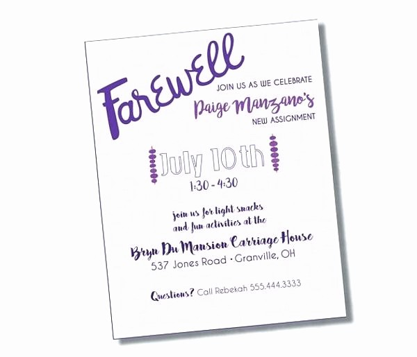 Going Away Flyer Template Free Best Of Farewell Party Invitation Invite Email A U Flyer