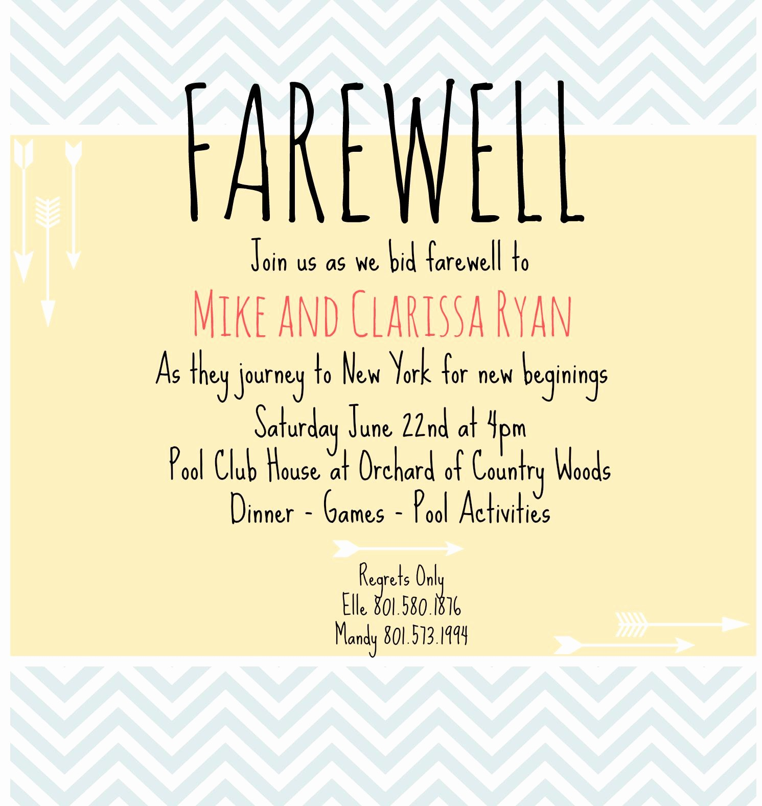 Going Away Flyer Template Free Inspirational Going Away Party Invitations