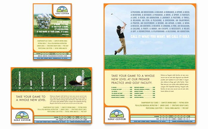 Golf tournament Flyer Template Word Awesome Golf Instructor & Course Flyer & Ad Template Design