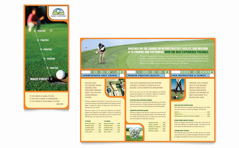 Golf Instructor Course Brochure Templates SF D