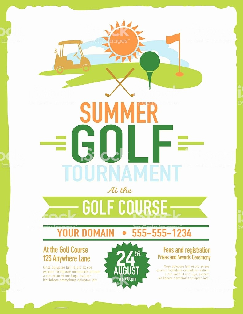 Golf tournament Invitation Template Free Best Of Retro Summer Golf tournament with Golf Cart Invitation