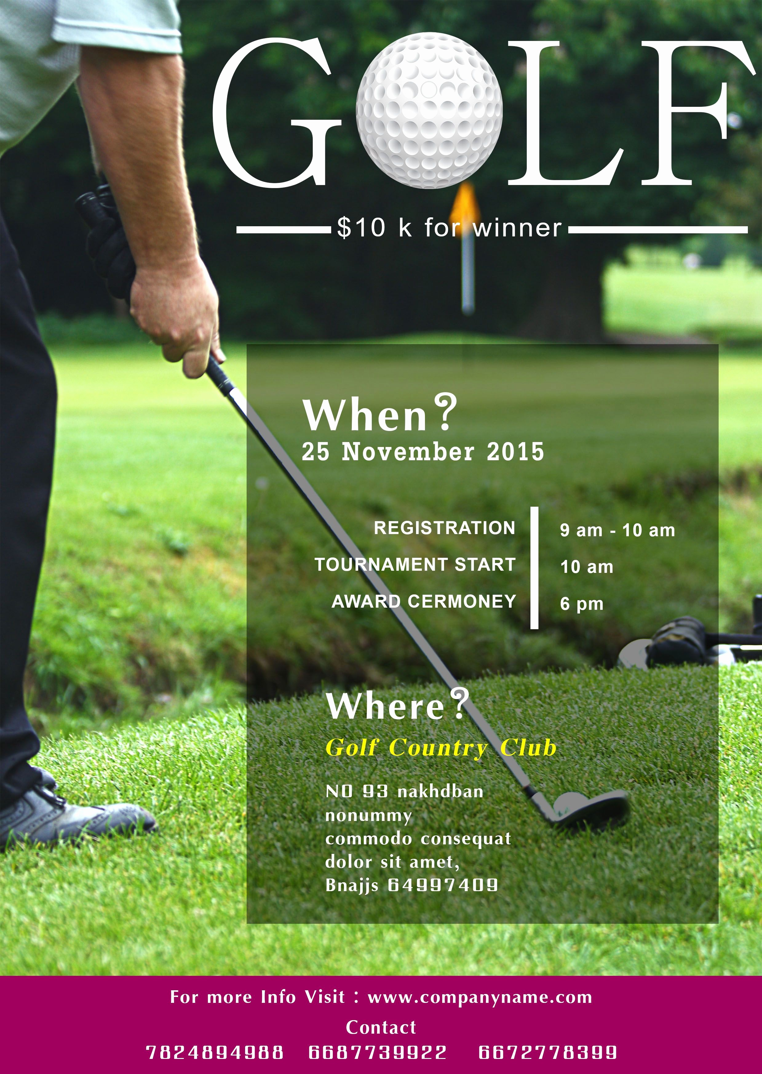 Golf tournament Invitation Template Free Fresh Golf tournament Flyer Template Free