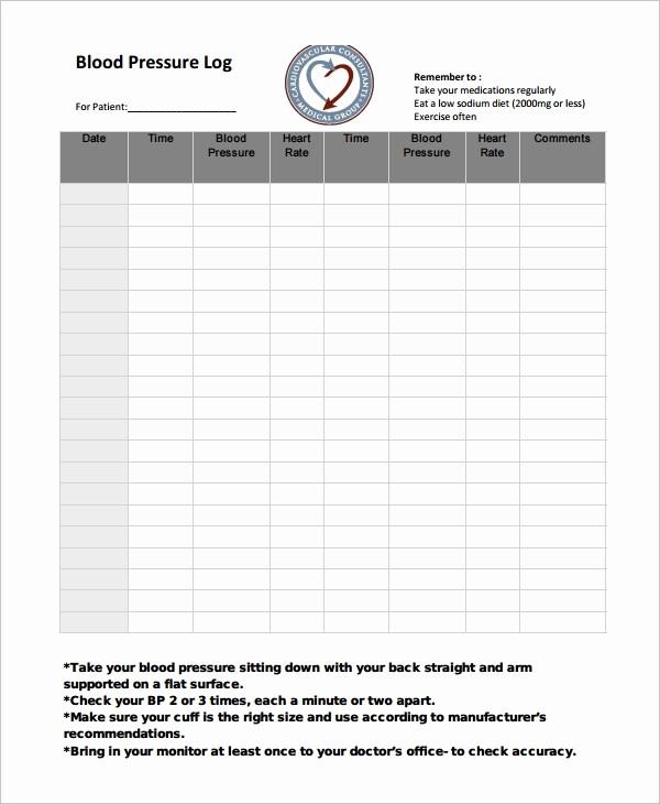 Google Docs Blood Pressure Template Luxury Blood Pressure Log Template – 10 Free Word Excel Pdf