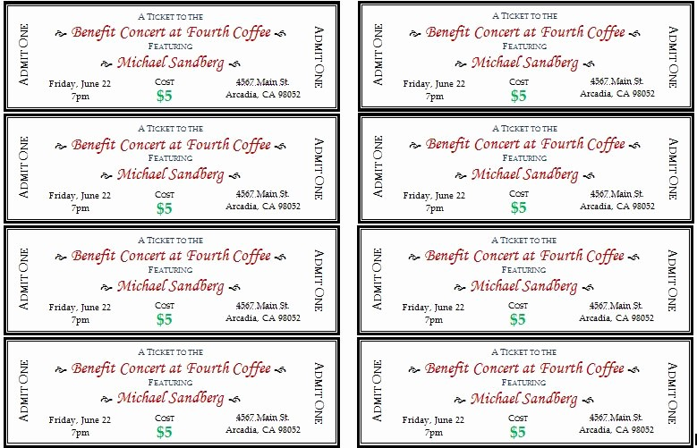 Google Docs event Ticket Template Unique Generic event Ticket Templates