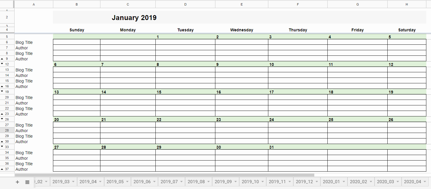 Google Sheets Calendar Template 2019 Beautiful Free 2019 Editorial Calendar In Google Sheets